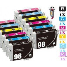 12 Piece Bulk Set Epson T098 T099 combo Ink Cartridges Remanufactured