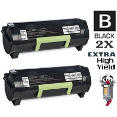 2 Piece Bulk Set Lexmark 50F1U00 Extra High Yield Toner Cartridges Premium Compatible