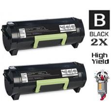 2 PACK Lexmark 50F1X00 High Yield Toner Cartridges Premium Compatible