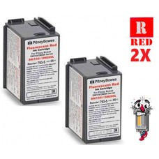 2 PACK Pitney Bowes 793-5 Fluorescent Red Ink Cartridge Remanufactured