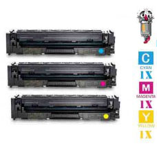 3 Piece Bulk Set Hewlett Packard HP202X combo Cyan, Magenta and Yellow Toner Cartridges Premium Compatible