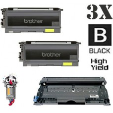 3 Piece Bulk Set Brother TN350 DR350 combo Laser Toner Cartridges Premium Compatible