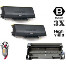 3 Piece Bulk Set Brother TN580 DR520 combo Laser Toner Cartridges Premium Compatible