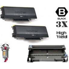 3 PACK Brother TN580 DR520 combo Laser Toner Cartridges Premium Compatible