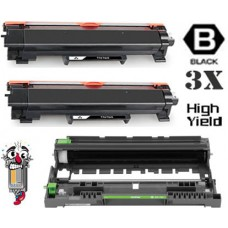 3 Piece Bulk Set Brother TN760 DR730 combo Laser Toner Cartridges Premium Compatible