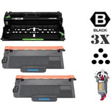 3 Piece Bulk Set Brother TN850 DR820 combo Laser Toner Cartridges Premium Compatible
