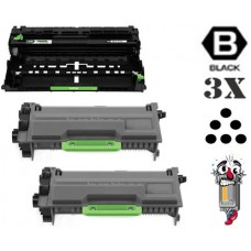 3 Piece Bulk Set Brother TN880 DR820 combo Laser Toner Cartridges Premium Compatible