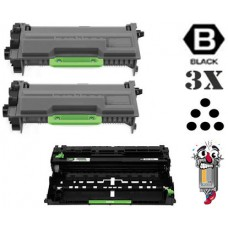 3 Piece Bulk Set Brother TN890 DR820 combo Laser Toner Cartridges Premium Compatible