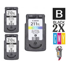 3 PACK Canon PG210XL CL211XL High Yield combo Ink Cartridges Remanufactured