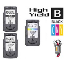 3 Piece Bulk Set Canon PG240XL CL241XL High Yield combo Ink Cartridges Remanufactured