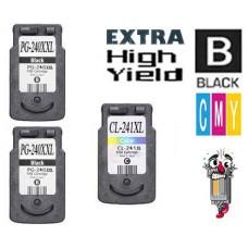 3 Piece Bulk Set Canon PG240XXL CL241XL High Yield combo Ink Cartridges Remanufactured
