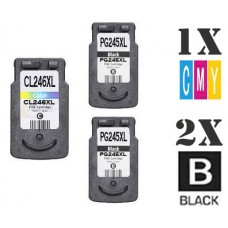 3 Piece Bulk Set Canon PG245XL CL246XL High Yield combo Ink Cartridges Remanufactured