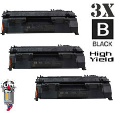 3 Piece Bulk Set Hewlett Packard CE505X HP05X High Yield combo Laser Toner Cartridges Premium Compatible
