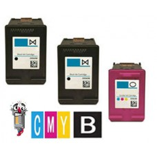 3 Piece Bulk Set Hewlett Packard HP60 combo Ink Cartridges Remanufactured