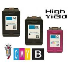 3 Piece Bulk Set Hewlett Packard HP62XL High Yield combo Ink Cartridges Remanufactured