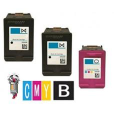 3 Piece Bulk Set Hewlett Packard HP63 combo Ink Cartridges Remanufactured