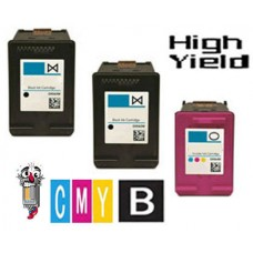 3 Piece Bulk Set Hewlett Packard HP63XL High Yield combo Ink Cartridges Remanufactured