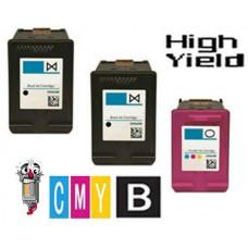 3 Piece Bulk Set Hewlett Packard HP64XL High Yield Black Ink Cartridge Remanufactured