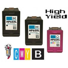 3 Piece Bulk Set Hewlett Packard HP65XL N9K04AN High Yield combo Ink Cartridges Remanufactured