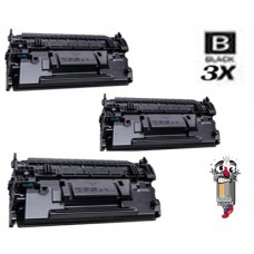 3 Piece Bulk Set Hewlett Packard CF287A HP87A Black combo Laser Toner Cartridge Premium Compatible