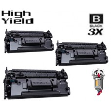 3 Piece Bulk Set Hewlett Packard CF287X HP87X High Yield Black combo Laser Toner Cartridge Premium Compatible
