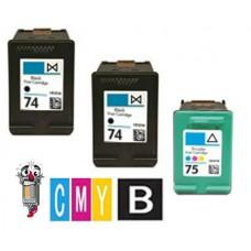 3 Piece Bulk Set Hewlett Packard HP74 / HP75 combo Ink Cartridges Remanufactured