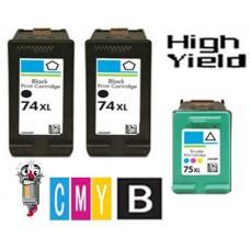 3 Piece Bulk Set Hewlett Packard HP74XL / HP75XL High Yield combo Ink Cartridges Remanufactured