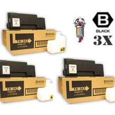 3 Piece Bulk Set Genuine Original Kyocera Mita TK342 Black combo Laser Toner Cartridge