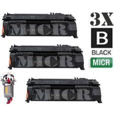 3 Piece Bulk Set Hewlett Packard CE505AM HP05AM MICR Black combo Laser Toner Cartridge Premium Compatible
