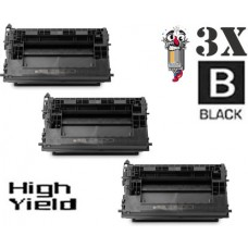 3 Piece Bulk Set Hewlett Packard HP37X CF237X High Yield combo Laser Toner Cartridge Premium Compatible