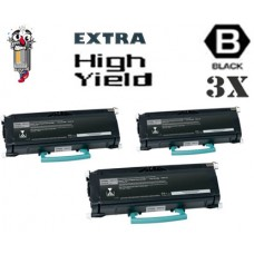 3 PACK Lexmark E460X11A Extra High Yield Toner Cartridges Premium Compatible