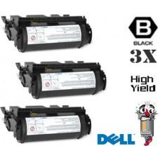 3 Piece Bulk Set Dell J2925 High Yield Black combo Laser Toner Cartridge Premium Compatible