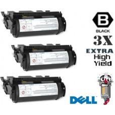 3 Piece Bulk Set Dell M2925 Extra High Yield Black combo Laser Toner Cartridge Premium Compatible