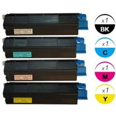 4 PACK Okidata 421274 OKI 401 combo Laser Toner Cartridge Remanufactured