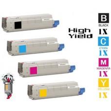 4 PACK OKI 521237 combo Laser Toner Cartridge Premium Compatible