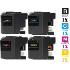 4 Piece Bulk Set Brother LC20E XXL Super High Yield Yellow Inkjet Cartridge Remanufactured