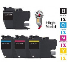 4 Piece Bulk Set Brother LC3013 High Yield Inkjet Cartridge Remanufactured