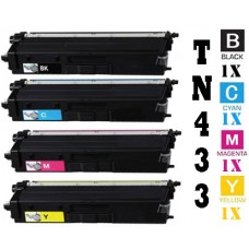 4 Piece Bulk Set Brother TN433 Standard combo Laser Toner Cartridges Premium Compatible