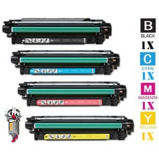 4 Piece Bulk Set Hewlett Packard CE250X CE251A combo Laser Toner Cartridges Premium Compatible