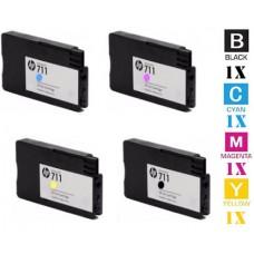 4 Piece Bulk Set Hewlett Packard HP711 combo Ink Cartridges Premium Compatible