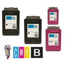 4 Piece Bulk Set Hewlett Packard HP60 combo Ink Cartridges Remanufactured