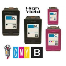 4 Piece Bulk Set Hewlett Packard HP61XL High Yield combo Ink Cartridges Remanufactured