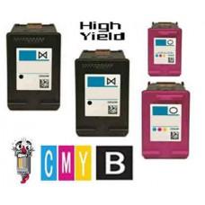4 Piece Bulk Set Hewlett Packard HP62XL High Yield combo Ink Cartridges Remanufactured