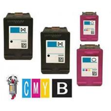 4 Piece Bulk Set Hewlett Packard HP63 combo Ink Cartridges Remanufactured