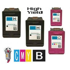 4 Piece Bulk Set Hewlett Packard HP64XL High Yield Color Ink Cartridge Remanufactured