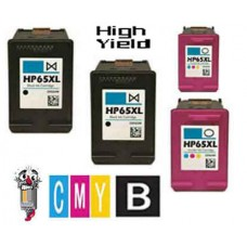 4 Piece Bulk Set Hewlett Packard HP65XL N9K03AN High Yield combo Ink Cartridges Remanufactured
