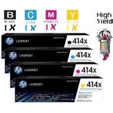 4 PACK Genuine Hewlett Packard HP414X High Yield combo Laser Toner Cartridges