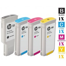 4 Piece Bulk Set Genuine Original Hewlett Packard HP728 combo Laser Toner Cartridges