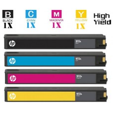 4 Piece Bulk Set Hewlett Packard HP972X High Yield Ink Cartridge Remanufactured