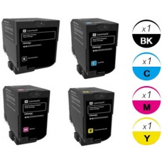 4 PACK Lexmark 74C1S Extra High Yield Toner Cartridges Premium Compatible